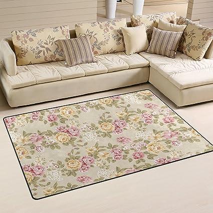 Strange Use7 Shabby Chic Floral Area Rug Rugs Non Slip Floor Mat Doormats Living Room Bedroom 100 X 150 Cm 3 X 5Ft Home Interior And Landscaping Fragforummapetitesourisinfo
