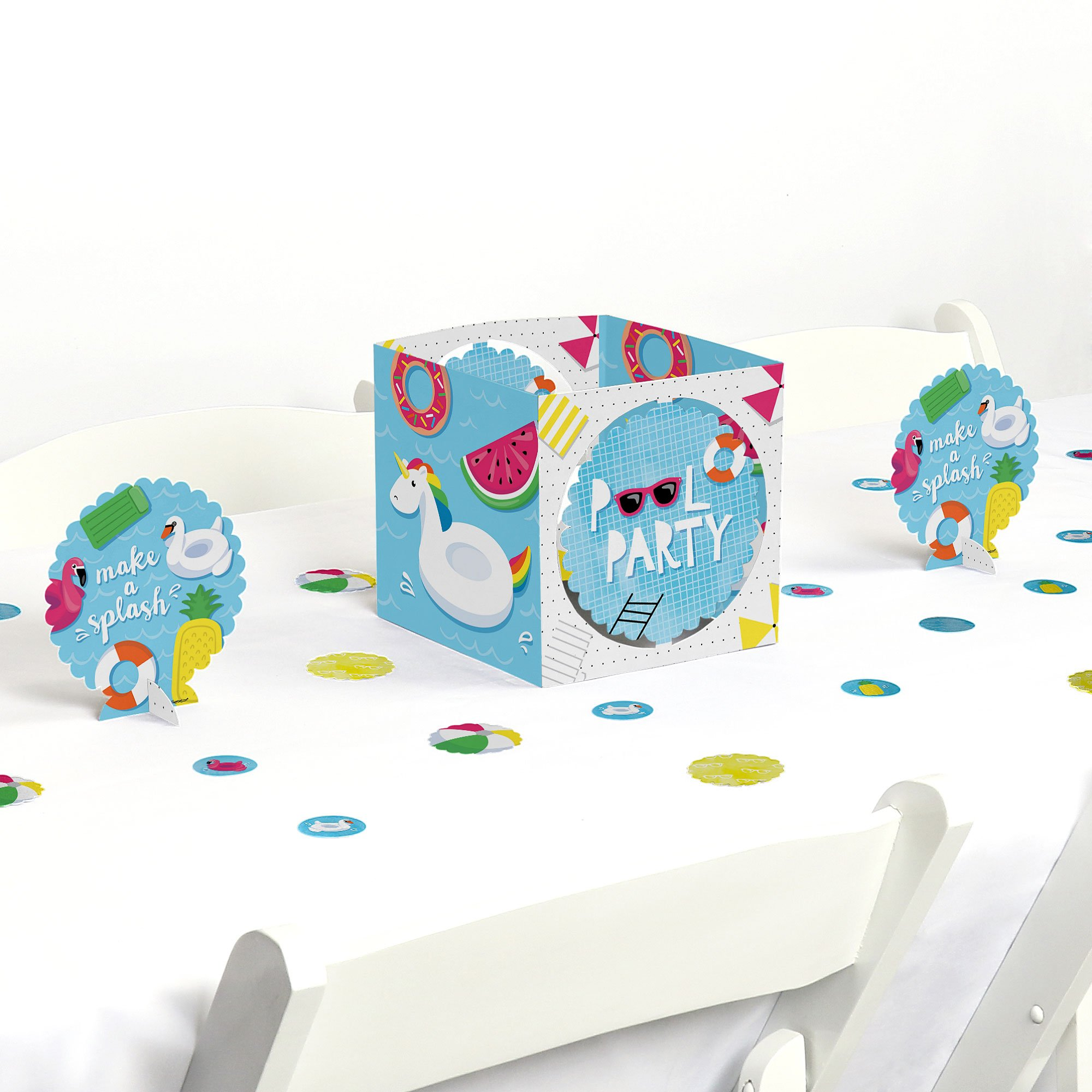 Big Dot of Happiness Make A Splash - Pool Party - Summer Swimming Party Birthday Party Centerpiece & Table Decoration Kit