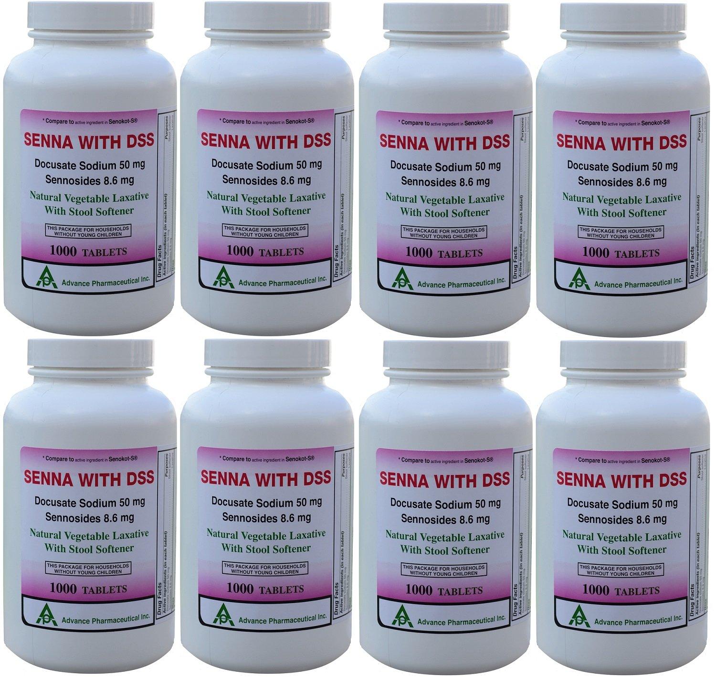 Senna 8.6 Mg & Docusate Sodium 50 mg Generic for Senokot-S Natural Vegetable Laxative Plus Stool Softener 1000 Tablets per Bottle Pack Of 8