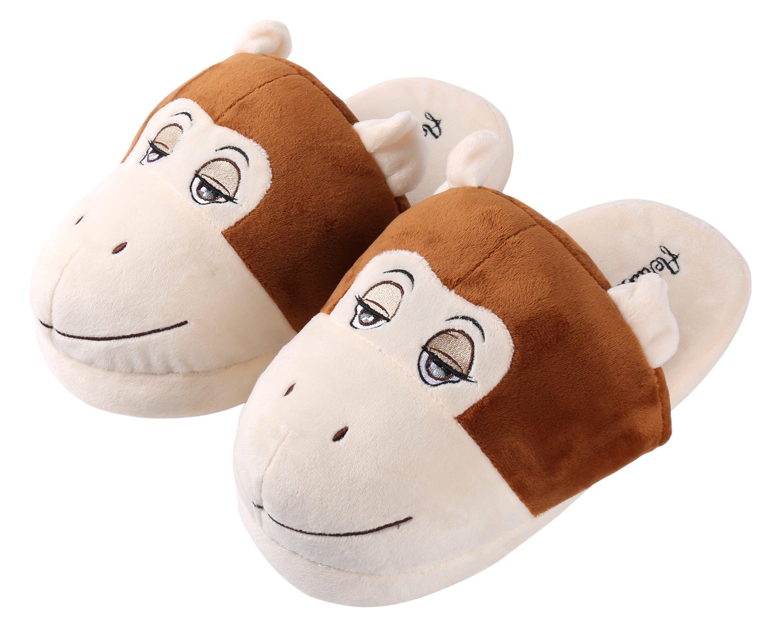 Aerusi SEC20600L Men or Women's Adult Animal Plush Slippers, Brown Monkey, 8-12''