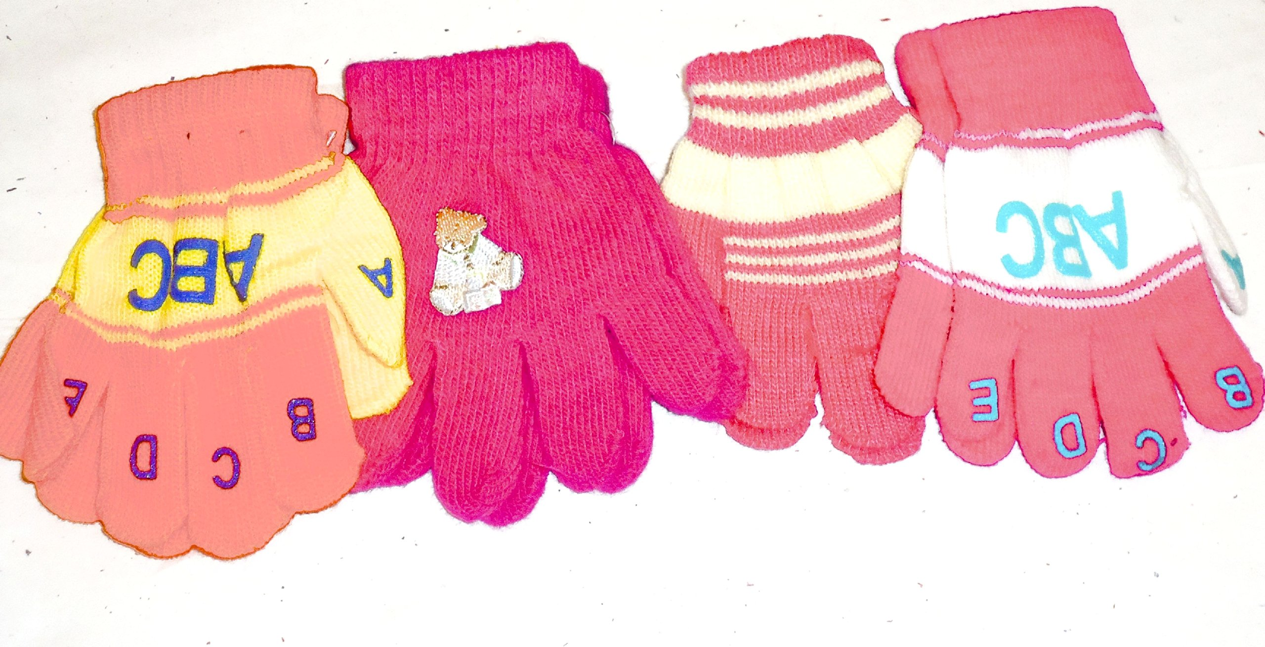 Four Pairs Magic Microfiber Stretch Gloves for Infants for Ages 1-4 Years