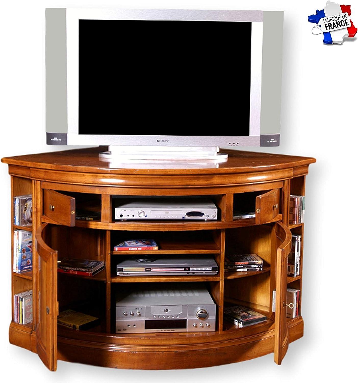 GONTIER - Mueble de TV esquinero con almacenamiento lateral – 100% fabricado en Francia, Merisier Teinte D, 99x85x99: Amazon.es: Hogar