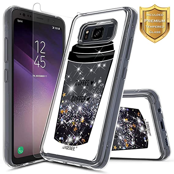 new products a4005 3ebca Galaxy S8 Active Glitter Case w/[Tempered Glass Screen Protector], NageBee  Liquid Quicksand Waterfall Floating Flowing Sparkle Bling Girls Funny Cute  ...