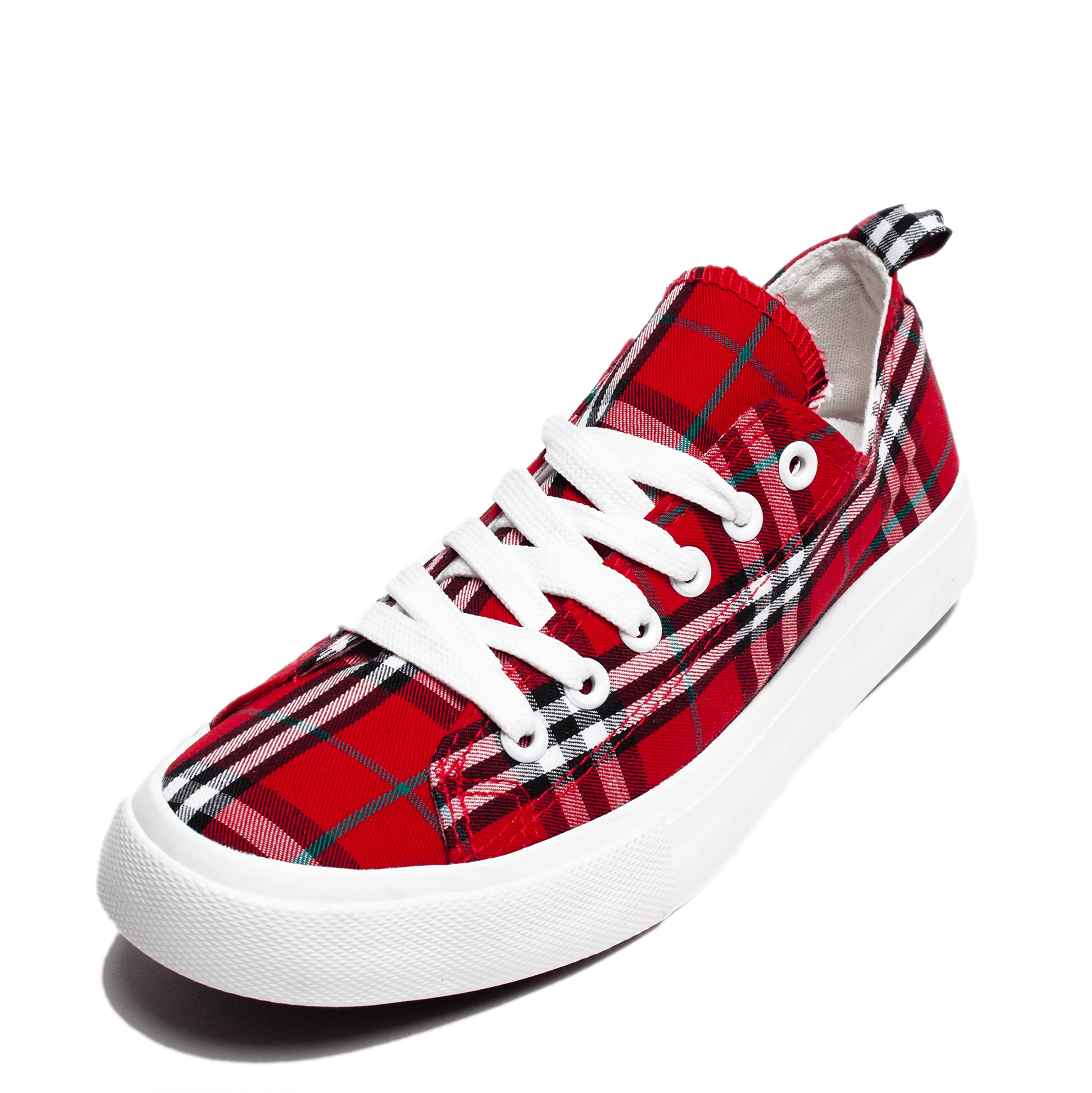 Fashion Vegan Leather Monochromatic Lace Up Colored Sneakers, Low Top Round Toe Shoes, Stylish and Comfortable (8, Red and Black Plaid)