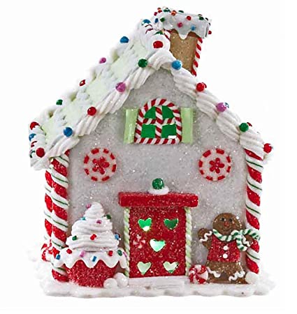 led lighted gingerbread house white house with cupcake christmas decoration - Gingerbread House Christmas Decorations