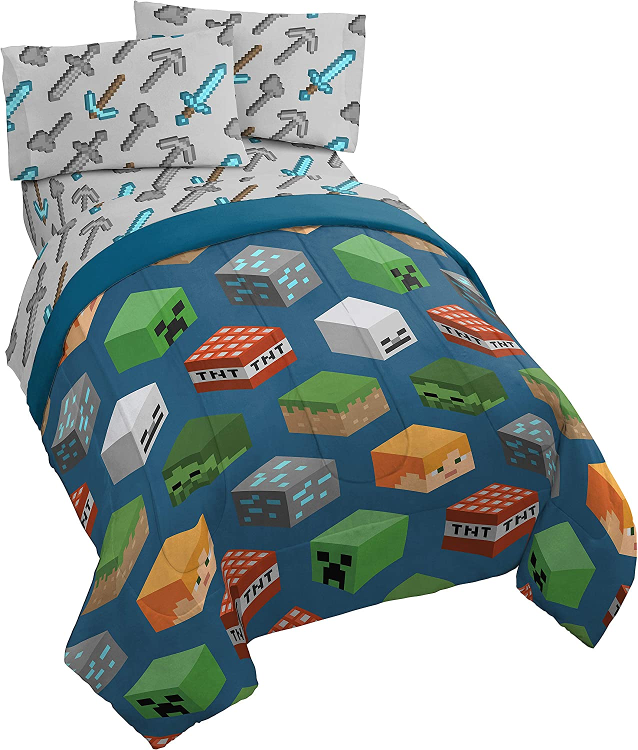 Jay Franco comforter and sheet set in multi-minecraft design.
