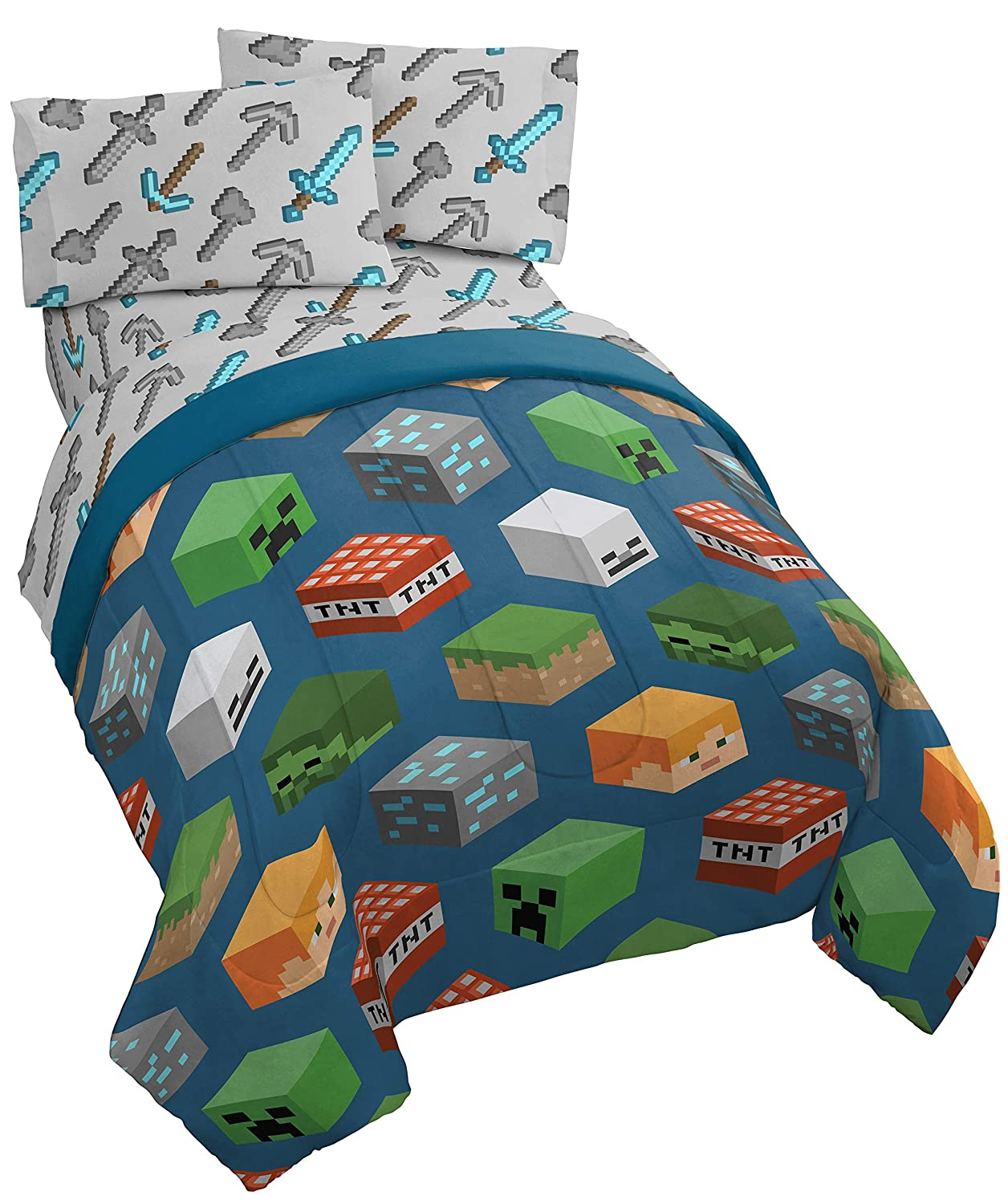 Jay Franco Minecraft Isometric 5 Piece Full Bed Set - Includes Reversible Comforter & Sheet Set - Bedding Features Creeper - Super Soft Fade Resistant Polyester - (Official Minecraft Product)