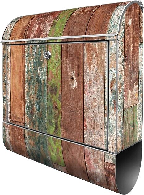 2 Schlüssel und Farbe Schokobraun Banjado Wandbriefkasten mit Zeitungsfach