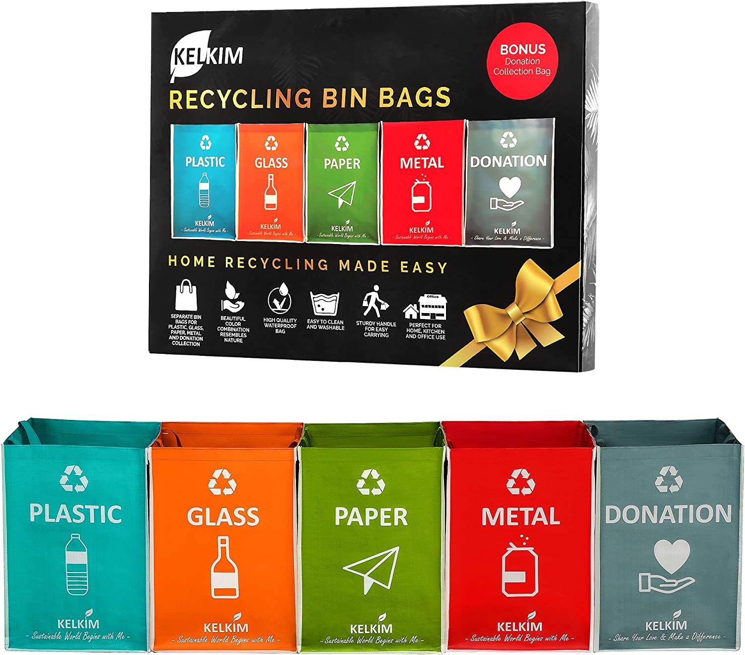 Recycling Bin Bags + Donation Bag for Home Kitchen Office | Portable Indoor Recycle Waste Organizer | Waterproof Garbage Containers | Separate Recyclable Trash Sorting Bin | Big Compartment 5 Bags Set