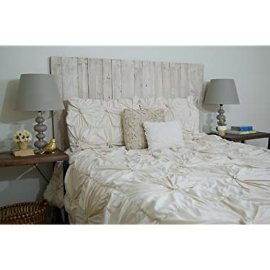 Whitewash Headboard Weathered King Size, Hanger Style, Handcrafted. Mounts on Wall. Easy Installation