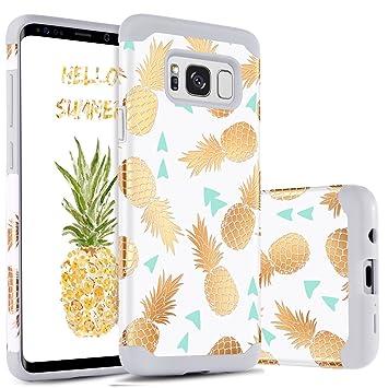 BENTOBEN Funda Samsung Galaxy S8 Piña, Funda Galaxy S8, Ultra Delgado Carcasa Case Cover Brillante Mono, Duro PC y TPU Suave Silicona Anti-Scratch ...