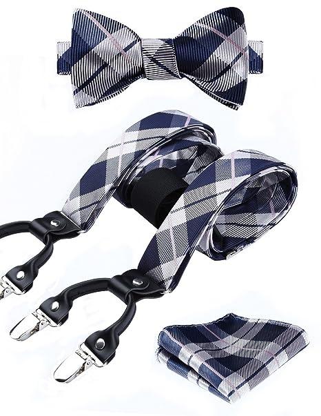 Hisdern Varios Clasico 6 clips Suspendedor & Bowtie & Panuelo de bolsillo Conjunto Forma Y Ajustable Tirantes 3q8xiF1LSe