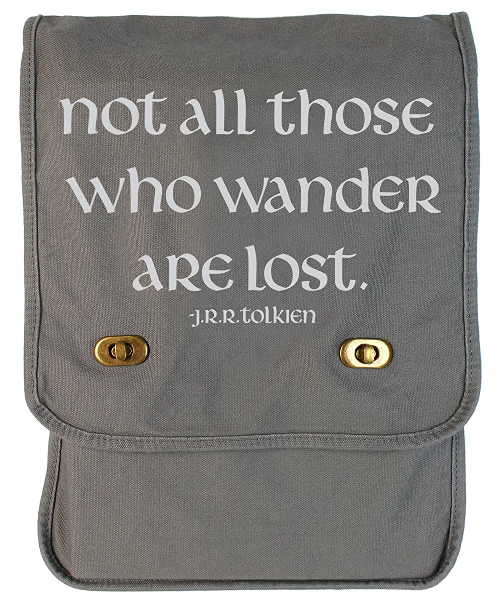 tenacitee Not All Those Who Wanderキャンバスフィールドバッグ One Size スモーク B0736G4BBR