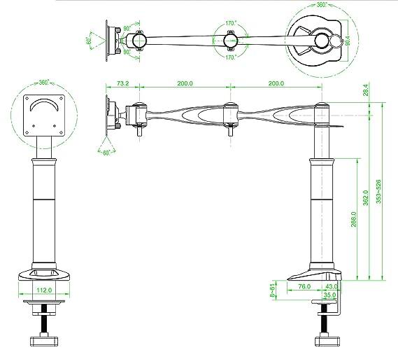 Hanns-G Monitor Gelenk Monitorarm Tischhalterung f on