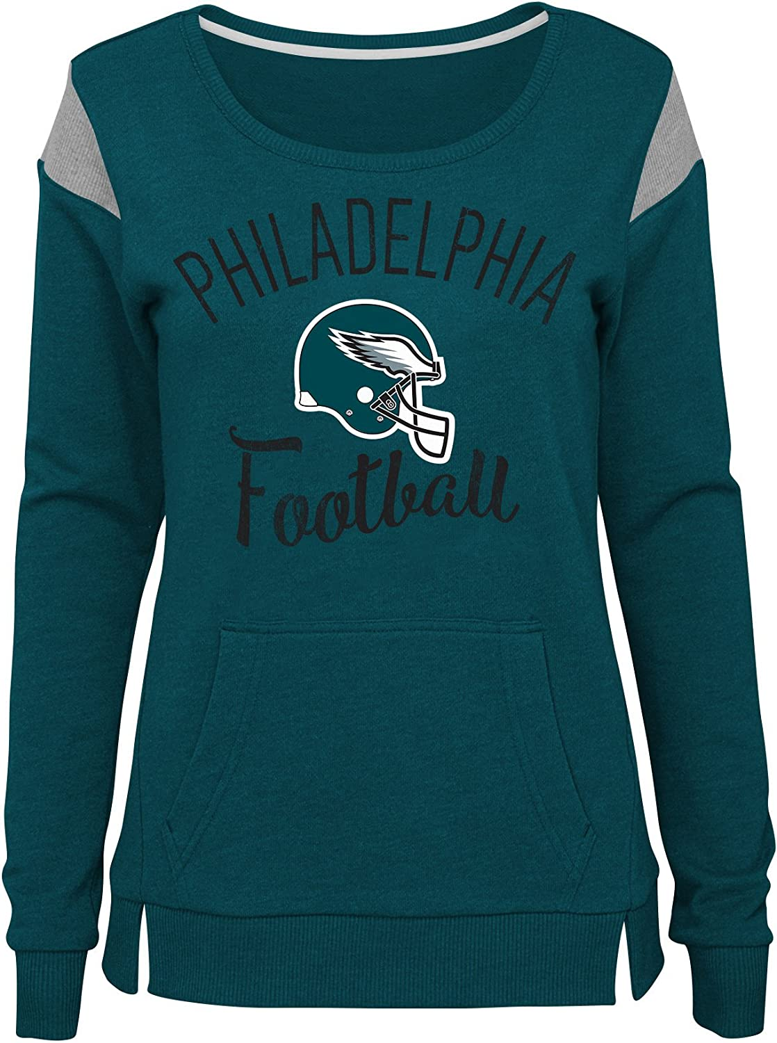 0-1 NFL by Outerstuff NFL Philadelphia Eagles Juniors Classic Crew French Terry Pullover Jade Juniors X-Small