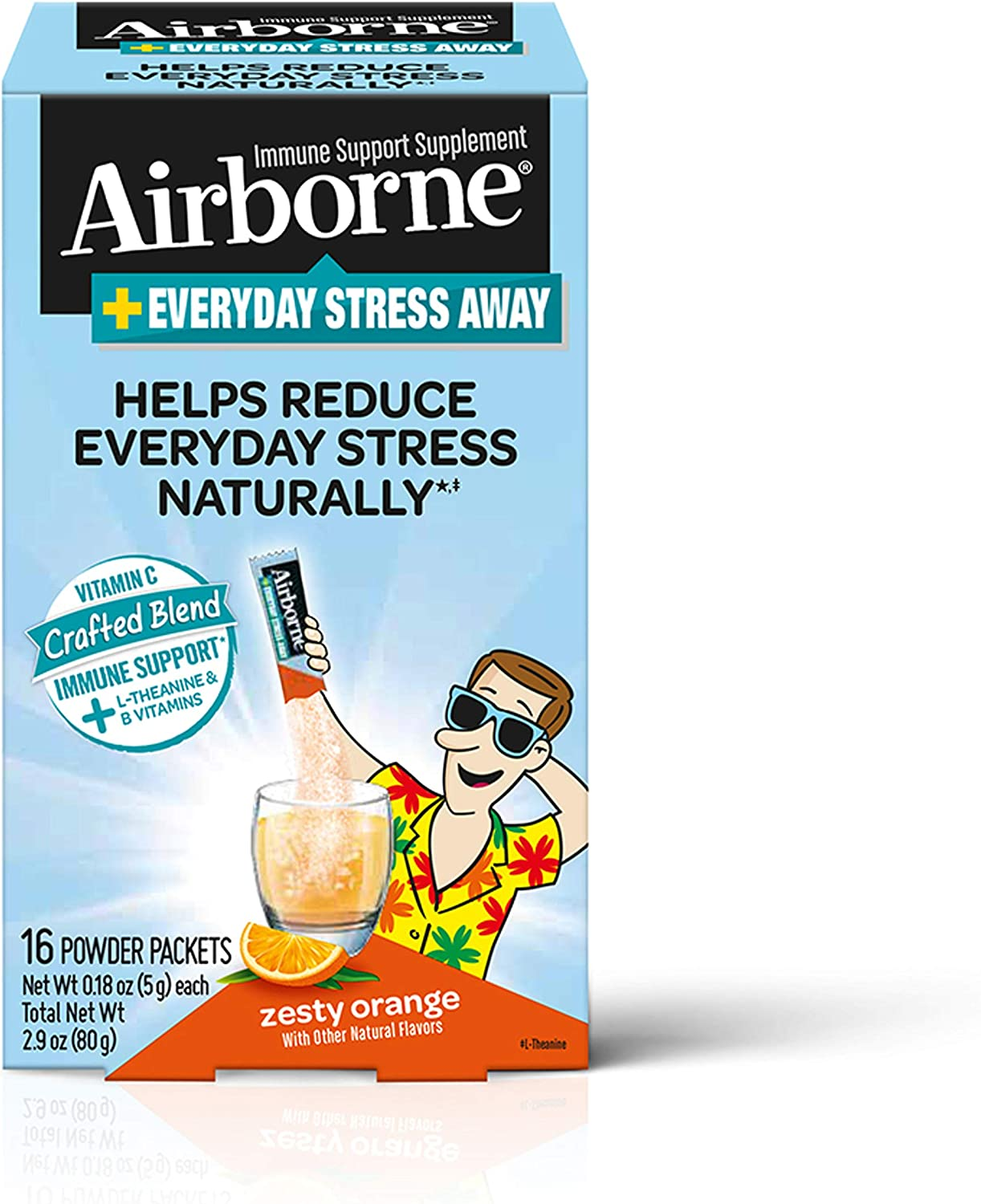 Airborne Stress Away Immune Support Supplement, Zesty Orange (16 Powder Packets) (Packaging May Vary)