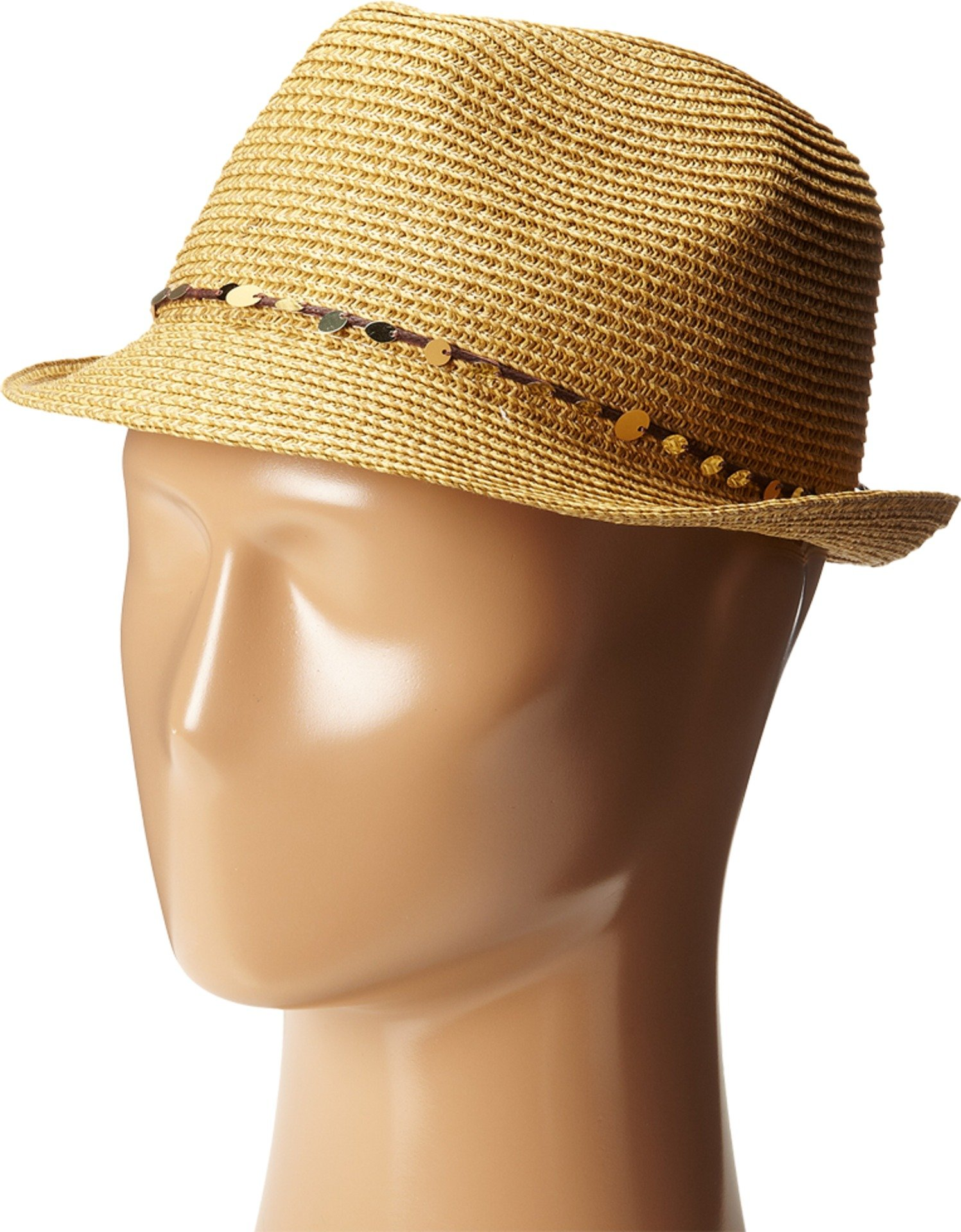 Tommy Bahama Women's Sequins Paper Braid Fedora Hat, Toast, OS