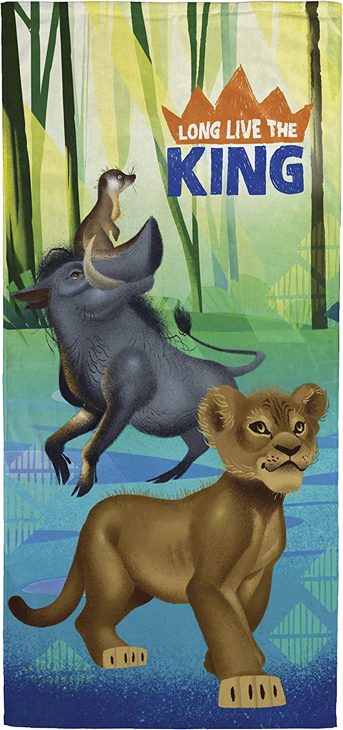 Disney Lion King Jungle Buddies Kids Bath/Pool/Beach Towel - Features Simba, Pumbaa, & Timon - Super Soft & Absorbent Fade Resistant Cotton Towel, Measures 28 inch x 58 inch (Official Disney Product)