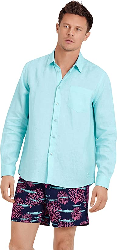 VILEBREQUIN Camisa de Lino Lisa para Hombre: Amazon.es: Ropa y accesorios