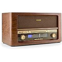 auna Belle Epoque 1906 • Stereoanlage • Retroanlage • Radio-Tuner • UKW • LCD-Display • CD-Player • MP3-fähig • USB • Digitalisierungsfunktion • Fernbedienung • Holz Gehäuse • braun