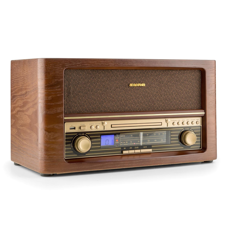 auna Belle Epoque 1906 • Chaîne stéréo • Chaîne rétro • Tuner Radio • AM/FM • Écran LCD • Affichage Bande de fréquence • Lecteur CD • MP3 • Port USB • Fonction