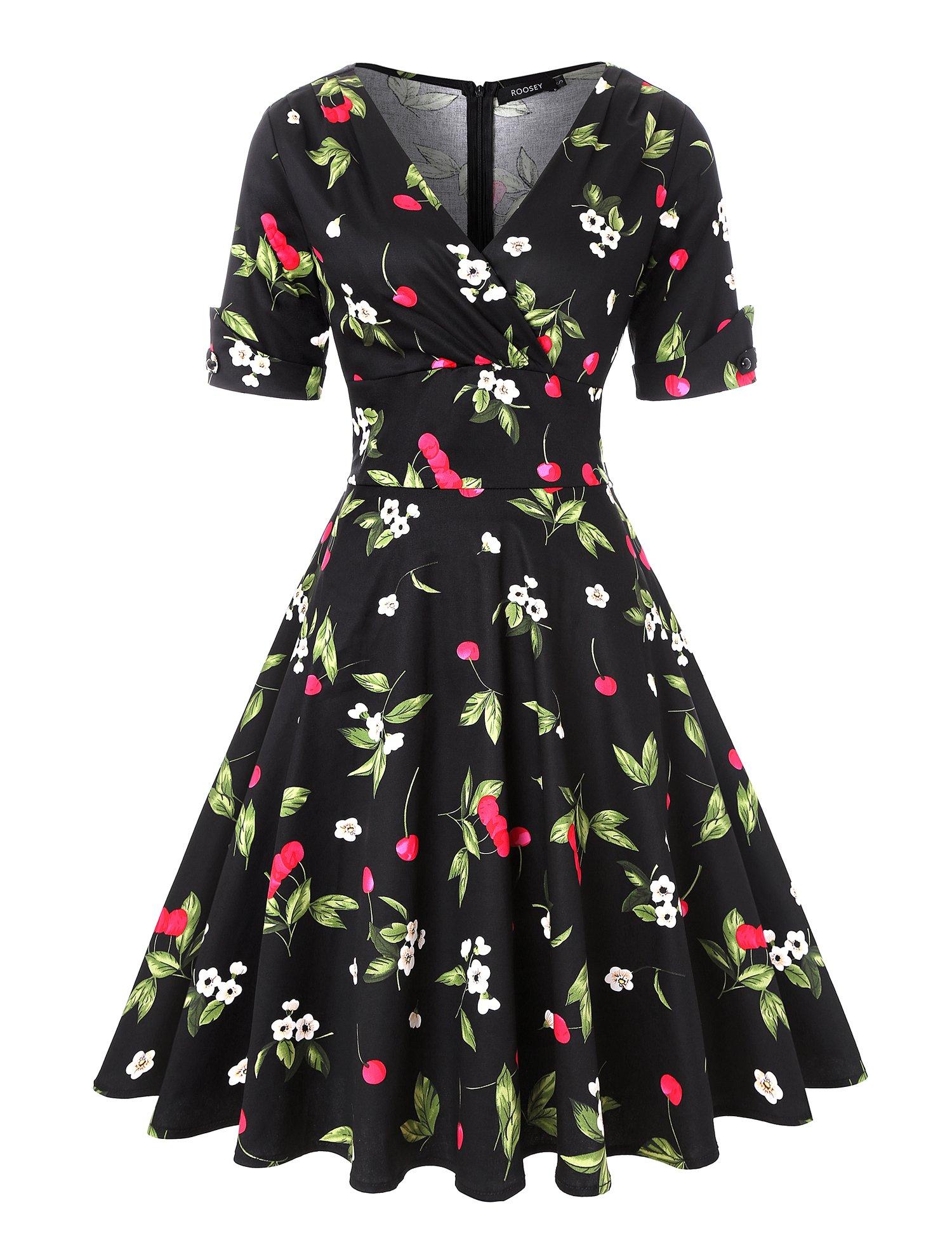 ROOSEY 1950s Vintage Retro V Neck Cherry Pattern Cocktail Prom Dress Women