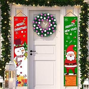 Christmas Decoration Set Santa Claus Porch Sign Front Door Decor Welcome Merry Christmas Banner Christmas Hanging Decoration for Indoor Outdoor Christmas Decoration Christmas Party