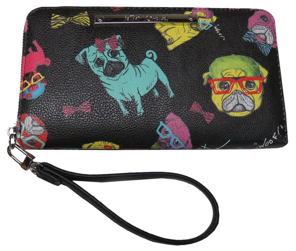 Betsey Johnson Pug Dog Wristlet Multi Compartment Wallet