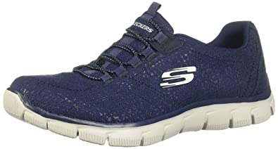 b9d724b81f9d Skechers Womens Navy Knit  Empire Spring Glow  Slip-On Trainers ...