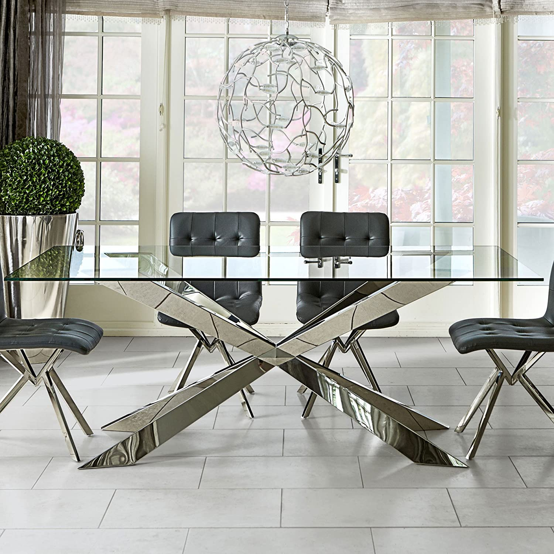 LISF Grey Glass Italian Style Dining Table (200cm): Amazon.co.uk: Kitchen U0026  Home