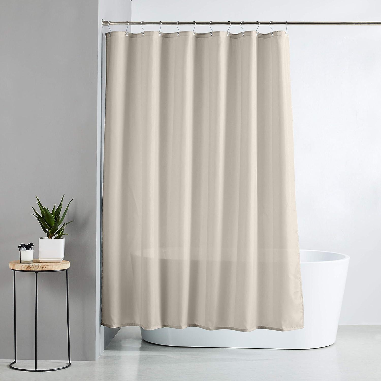 Basics Rideau de douche en polyester Armure toile Gris temp/ête 183 x 183 cm