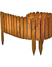 Floranica® Bordura Rollborder Recinto in Legno, srotolatile della 203 cm (accorciato), dei paletti, Come recinto aiuole, Giardini, steccato, palizzata - impregnato, Colore:Marrone, Altezza:20 cm