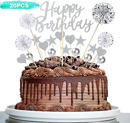Raye Decorazione Per Torta Argento Torta Di Compleanno Topper Per Torte Compleanno Decorazioni Torte Amazon It Casa E Cucina