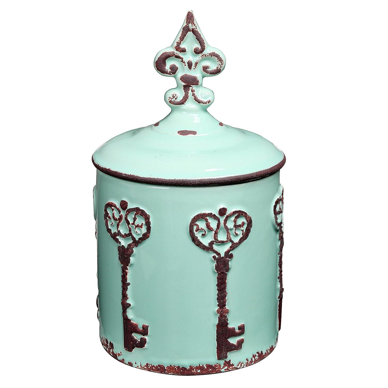 MyGift Vintage Style Key & Fleur de Lis Design Cyan Blue Ceramic Storage Canister/Lidded Cookie Jar AX-AY-ABHI-100697