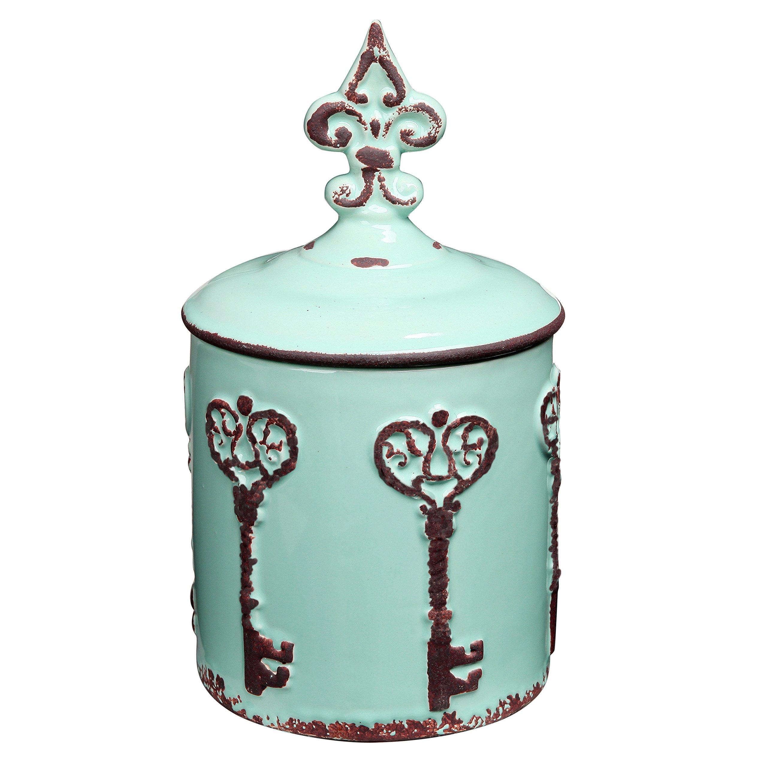 MyGift Vintage Style Key & Fleur de Lis Design Cyan Blue Ceramic Storage Canister/Lidded Cookie Jar