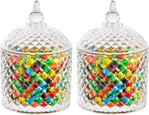 ComSaf Glass Candy Dish with Lid Decorative Candy Bowl, Crystal Covered Candy Jar for Home Office Desk, Set of 2 (Diameter:3.7 Inch)