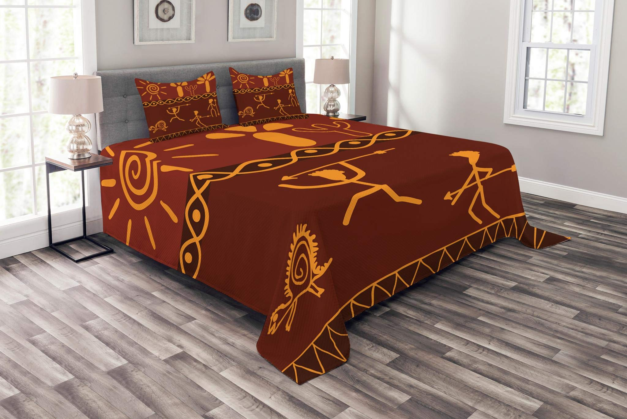 Lunarable Tribal Bedspread Set Queen Size, African Tribe Hunting Scene Wild Animal Casual Old Days Artistic Ethnic Pattern, Decorative Quilted 3 Piece Coverlet Set with 2 Pillow Shams, Orange Red