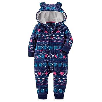 Amazon.com: Carter's Baby Girls' Fair Isle Hooded Fleece Jumpsuit ...