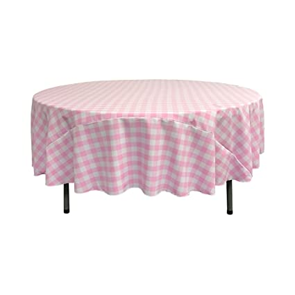 Genial LA Linen Poly Checkered Round Tablecloth, 72 Inch, Pink/White