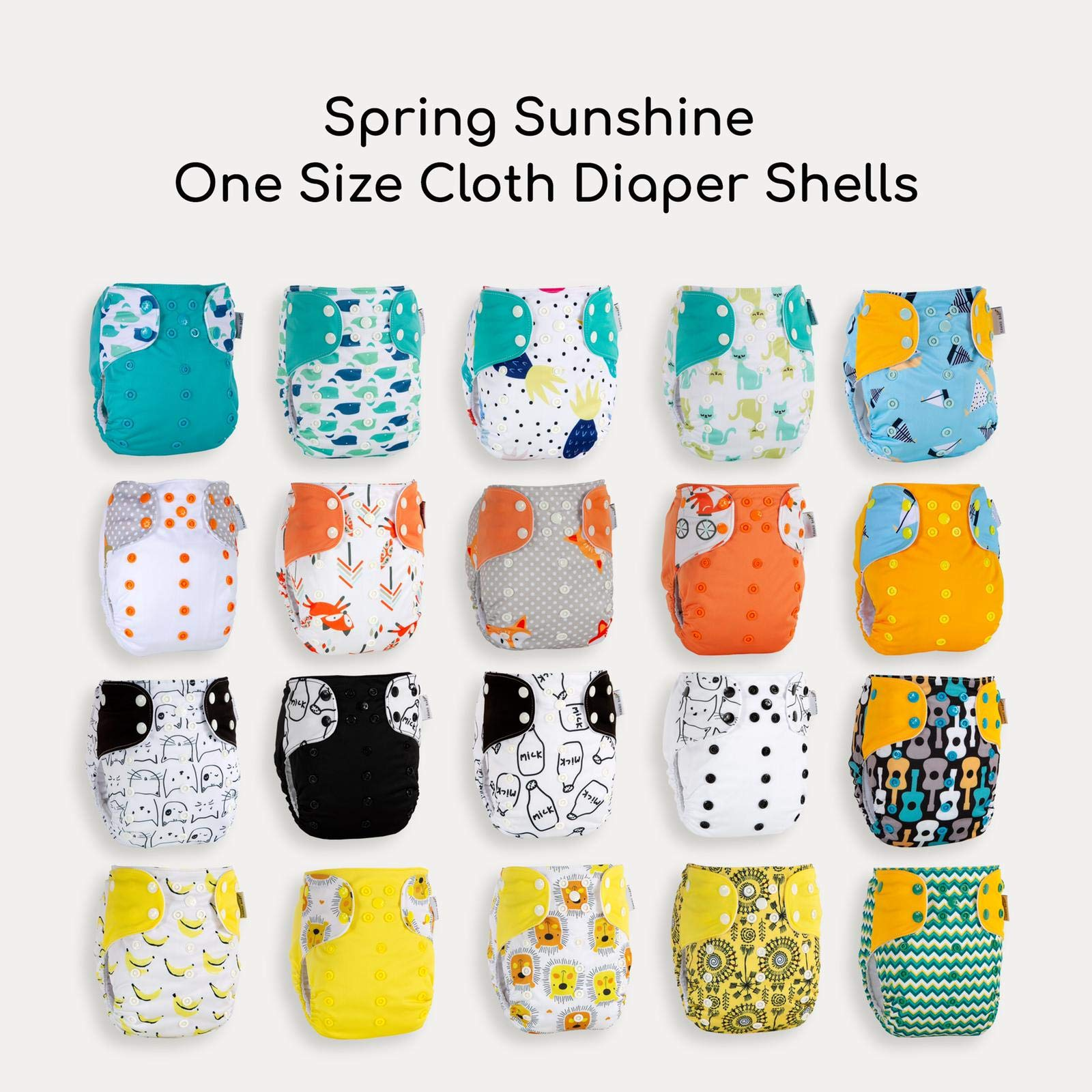 Best Seller! KaWaii Baby 20 One Size Printed Snap Cloth Diaper Shells/Spring Sunshine Theme/Reusable/Newborn to Toddler