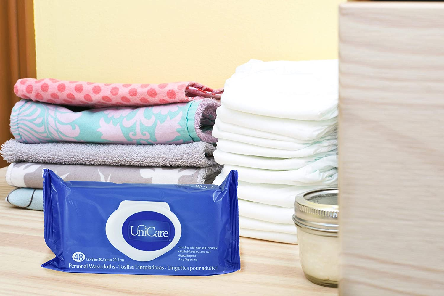 Amazon.com: Unicare Personal Washcloths. 96 Premium Quality Adult Wipes 12 x 8. Hypoallergenic Disposable Wascloths. Moist Cleansing Wipe Washclothes.