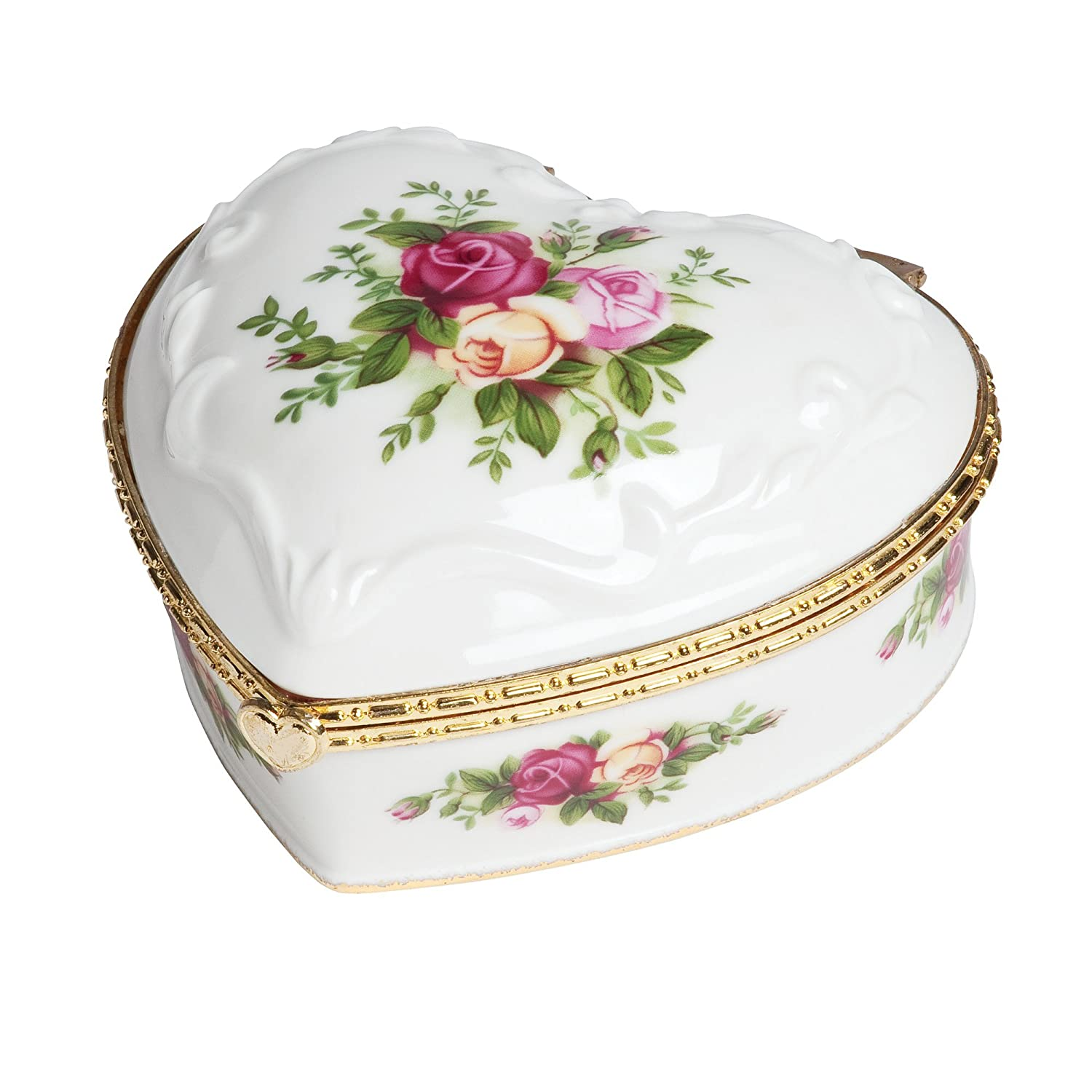 Royal Albert Old Country Roses Heart 4 Inch Jewelry Box If You Love Me by Royal Albert