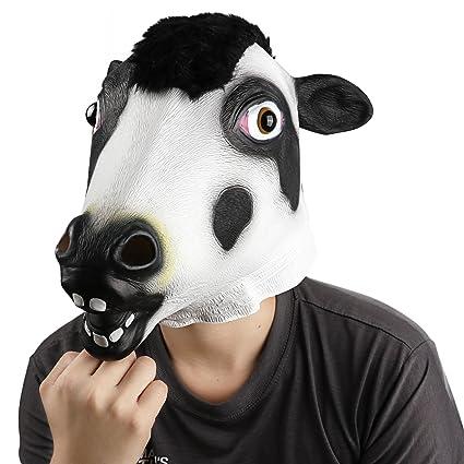 supmaker Halloween de disfraces máscara de látex máscara de cabeza de vaca con ojos Real