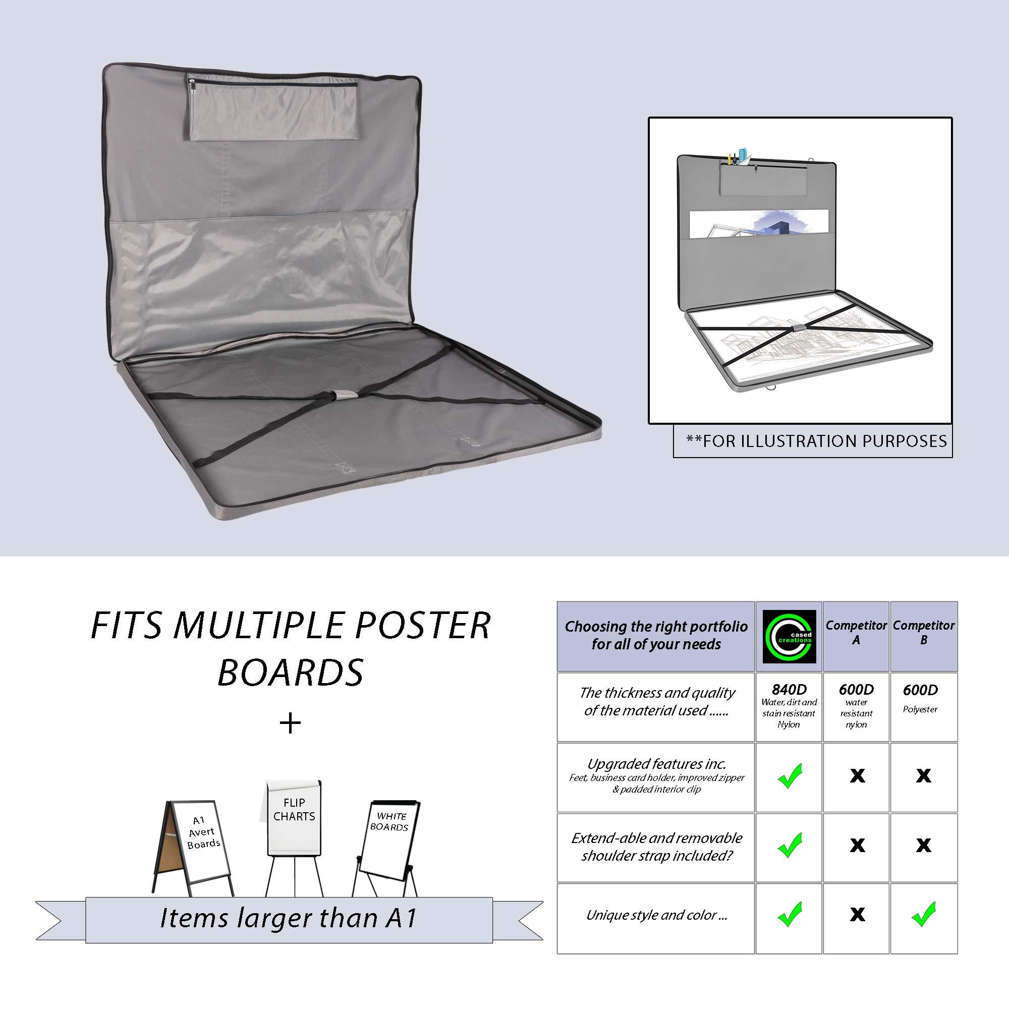 Large Soft Sided Art Portfolio Bag 34'' x 42''   Flip Chart Case   White  Board Carrier   Artist Easel & Foam Board Presentation Carrying   Poster &