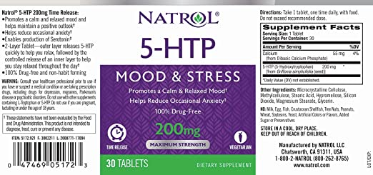 Natrol 5-HTP Time Release tablets, Promotes a Calm Relaxed Mood, Helps Maintain a Positive Outlook, Enables Production of Serotonin, Drug-Free, ...