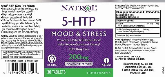 Natrol 5-HTP Timed Release 200 mg - Paquete de 30 tabletas: Amazon.es: Salud y cuidado personal