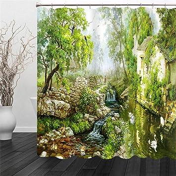 3D Land Malerei Grüne Ansicht Fluss Sicht Raum Druck Duschvorhang ...