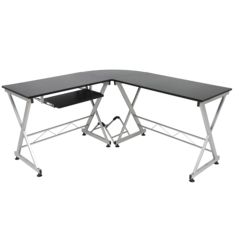 Wood L-Shape Corner Computer Desk PC Laptop Table Workstation