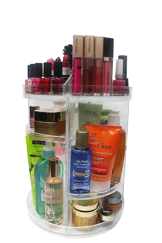 Arupco 360-Degree Rotating Makeup Organizer, Large Capacity, Adjustable Trays,Acrylic, Clear, Transparent, Cosmetic, Vanity, Lipstick, Brushes,Creams, Toner Storage, Carousel Style