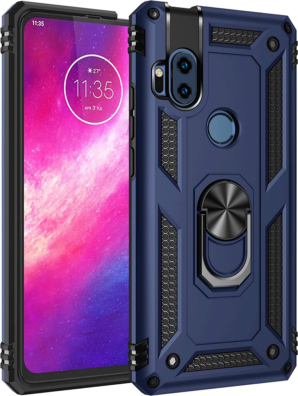 LEMAXELERS Motorola One Hyper Case Shockproof Duty Dual Layer Case with 360 Degree Rotating Ring Holder Kickstand Armor Magnetic Car Mount Protective Cover for Motorola One Hyper Blue AC